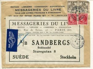 France air mail printed matter FRONT to Sweden 6.7.1945