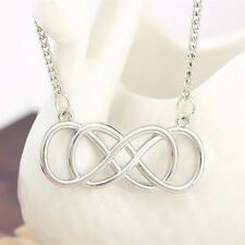 Infinity Eternity Love Forever Designer Style Double Infinity Necklace UK