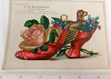 Lovely Boxer Dog Giant Shoe J.D. McDonald Shoes, Rochester, NY Trade Card #W