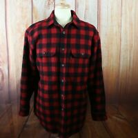 Woolrich Men's Large Button Flannel Shirt Wool Nylon Heavy Red Black Buffalo VTG