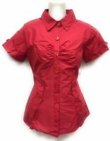 Women's smock front Short Sleeve Button-Down Shirt  premium Stretch 7 color