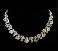 18k Gold Gf Necklace made w/ Swarovski Crystal Diamond Stone Bridal Jewelry