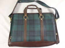 Business Class Briefcase Tartan Plaid Soft sided Blue Green