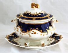 Antique English Porcelain Cobalt Blue Gold Vine Rococo Little Tureen Underplate
