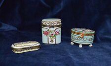 Antique Porcelain Hand Painted Trinket Boxes X 3