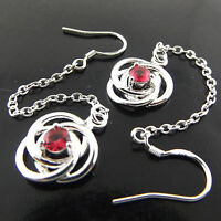 EARRINGS REAL 925 STERLING SILVER S/F RUBY GEM ANTIQUE HOOK LONG DROP DESIGN