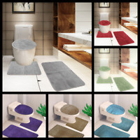 3PC #10 GEOMETRIC DESIGN BATHROOM SET BATH MAT CONTOUR RUG LID COVER 2 STYLES