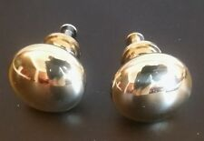 """PAIR OF SOLID BRASS ROUND CABINET DRAWER PULL KNOBS ~ 1 1/4"""" Width 1 1/8"""" Height"""