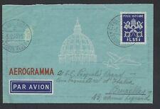 VATICANO 1950 Aerogramma 2A 55L USATO per Bruxelles (E8)
