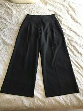 Womens Black Wide Leg Pleated Front Trousers Size 14 NEW