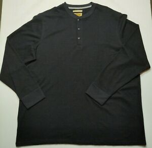 The Foundry Men's 2XL Black Long Sleeve Thermal Henley Shirt NEW