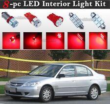 8-pc Red LED Interior Light Bulbs Package Kit Fit 2001-2005 Honda Civic LX EX Si