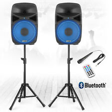 "VPS102A Active Bluetooth DJ House Party Karaoke Speakers with Stands 10"" 600W"