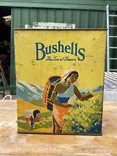 Vintage Bushells Tea Tin Advertising Old Collectable Milk Bar Grocery Shed Deli