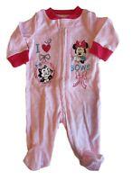 Disney Baby Minnie Mouse Girls Pink Sleeper Footie Newborn I Love Bows