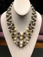 Vintage 5 Strand 1950's Pearl Beaded AB Crystal Statement Necklace Signed Japan