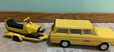 Vintage Mini-Tonka Jeep Wagoneer With Snowmobile and Trailer #1080 Really nice!!