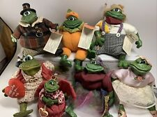 Lot Of 7 THE COUNTRY FOLKS FROG RUSS BERRIE CO. WITH TAGs 7.    WOW!   RIBBET!