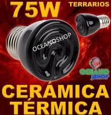 LAMPARA 75W BOMBILLA 99% CALOR CERAMICA TERMICA REPTIL terrario TORTUGA PAJARO