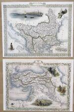 2 x Old Antique vintage colour maps 1800s TURKEY in Asia & Europe Tallis Reprint