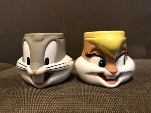 Extremely Rare Applause 1995 Looney Tunes Bugs Bunny Lola Bunny Mugs Figures