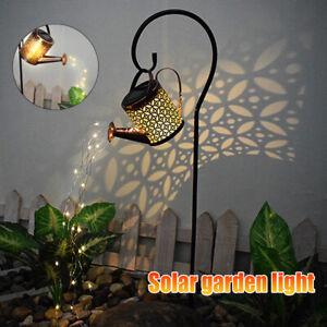 LED Solar Licht Gießkanne Star Shower Garten Art mit Lichterkette Außen Dekor ^
