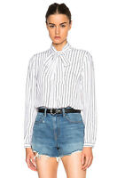 FRAME DENIM Long Sleeve Striped Silk Button Down Shirt Blouse White Black $249
