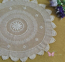 "Chic Pure White Round Hand Crochet Cotton Doily Placemat 24"" /60cm"