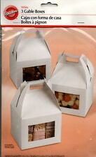 Wilton Set 3 White Gable Boxes Bakery Baked Goods Window Food Gifts Paper NEW