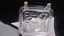 "Federal Glass Refrigerator 5"" Dish Embossed Fruit Has lid ribbed sides"