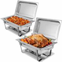 2 Packs 9 Quart Chafing Dish Stainless Steel Rectangular Chafer Full Size Buffet