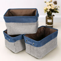 3Pcs Linen Fabric Storage Baskets Foldable w/ Handle Toy Clothes Organizer Boxes