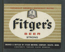 1970s FITGERS STRONG BEER BOTTLE LABEL DULUTH MINN - UNUSED