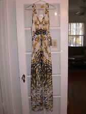 NWT Designer ECI NEW YORK Dress Gown 10 NWT$185 Fully Lined Fabric Safari print