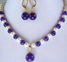 """Pretty!7-8MM White Pearl and Amethyst Necklace Earring 18"""""""