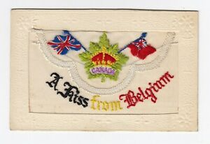 Embroidered Silk Postcard Canada A Kiss From Belgium