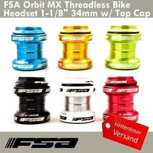 "FSA Orbit MX Gewindelos Fahrrad Steuersätze 1-1/8"" 34mm w/Top Cap - 7 Farbe"
