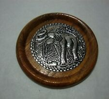 6 PCS THAI HANDCRAFT ELEPHANT WOODEN NATURAL WOOD COFFEE CUP COASTERS