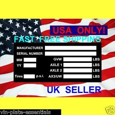 *USA ONLY* TRAILER CHASSIS TWIN AXLE PLANT UTILITY ALL-BLANK-VIN-CHASSIS-PLATES