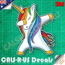 JDM Unicorn with 70s Stylish Rainbow Hair Dabbing Dab Car Vinyl Sticker 3M 100mm