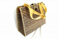 Ladies Women Jute Weave Handbag Brown Square (M)