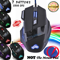 7 Button LED Gaming Mouse PRO Gamer 5500 DPI Backlight Optical USB Wired Mice
