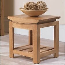 Crescent solid oak modern furniture side end lamp table with shelf