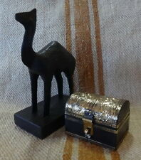 Camel and  brass trim Trunk Box set 13x15cm and 6x6x5cm
