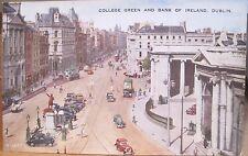 Irish Postcard COLLEGE GREEN & BANK OF IRELAND Dublin Eire Valentine's 1940s