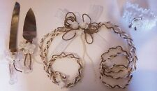Rustic Wedding set with Rope, garnish and cake set in white with pearls and rope