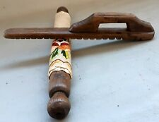 19 century Full set! Wooden textile ironing tool + this old linen table cloth