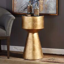 "MODERN URBAN DECOR 26"" METALLIC GOLD LEAF PEDESTAL ACCENT END TABLE BLACK GLASS"