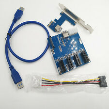 PCI-E 1X Expansion Kit 1 to 4 Ports Switch Multiplier Hub Riser Card USB 3.0