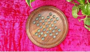 """Wooden Glass Marble Solitaire Board Game Brain Teaser 9"""" a Unique Gift (Natural)"""